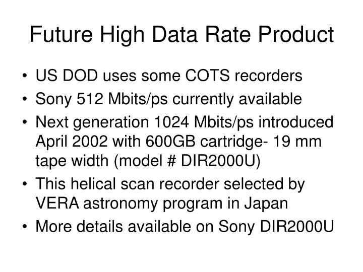 Future High Data Rate Product