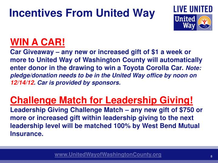Incentives From United Way