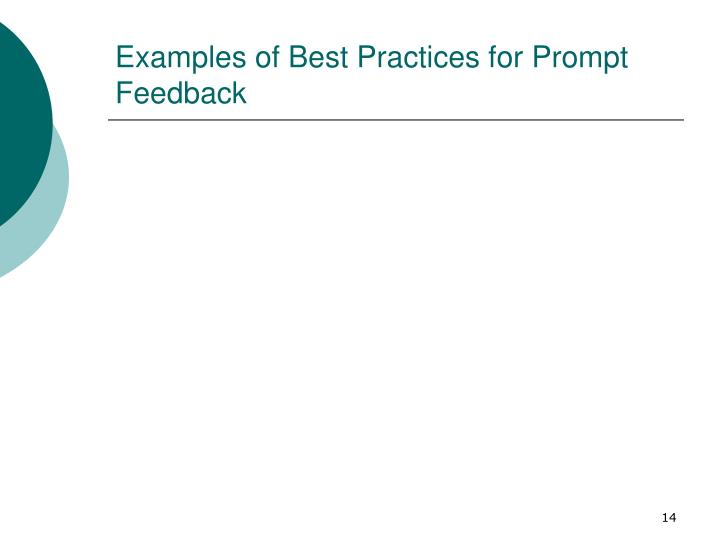 Examples of Best Practices for Prompt Feedback