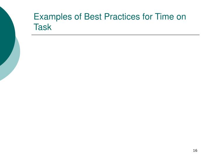 Examples of Best Practices for Time on Task