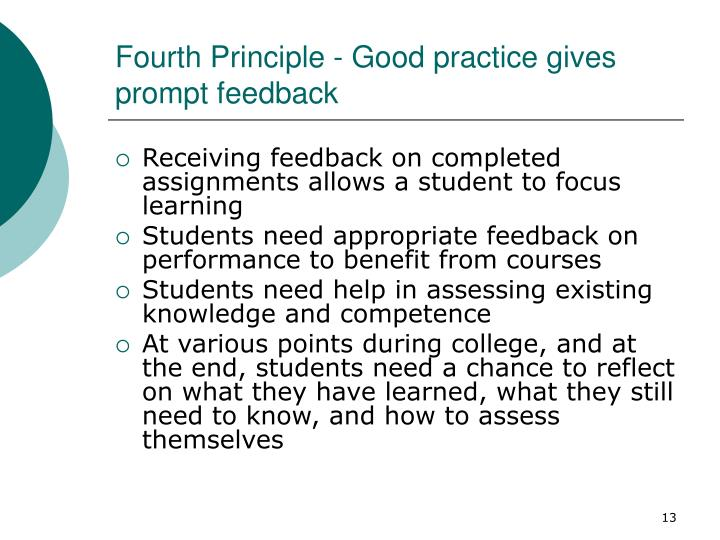 Fourth Principle - Good practice gives prompt feedback