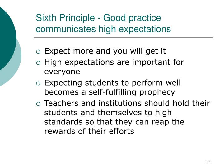 Sixth Principle - Good practice communicates high expectations