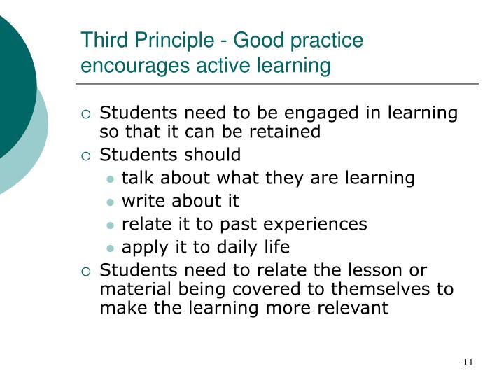 Third Principle - Good practice encourages active learning