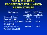 dhf in children prospective population based studies