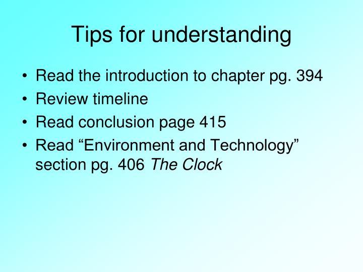 Tips for understanding