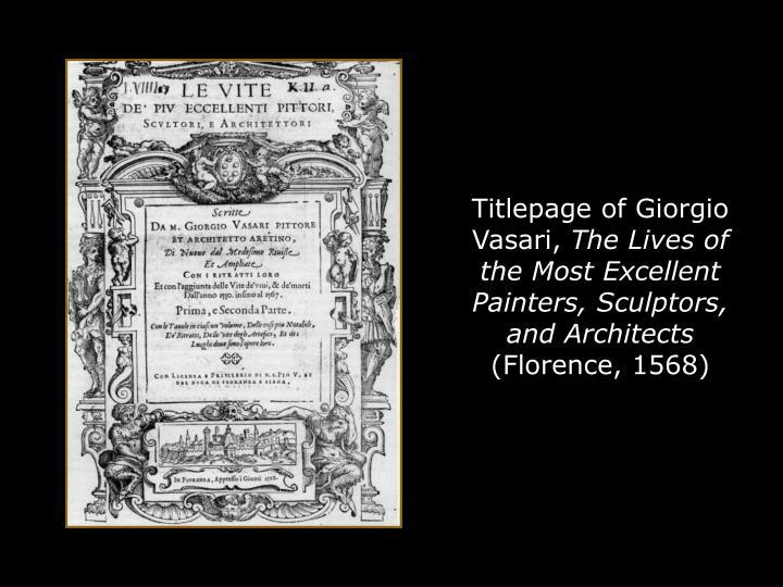 Titlepage of Giorgio Vasari,