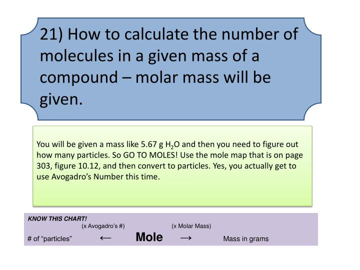 21) How to calculate the number of molecules in a given mass of a compound – molar mass will be