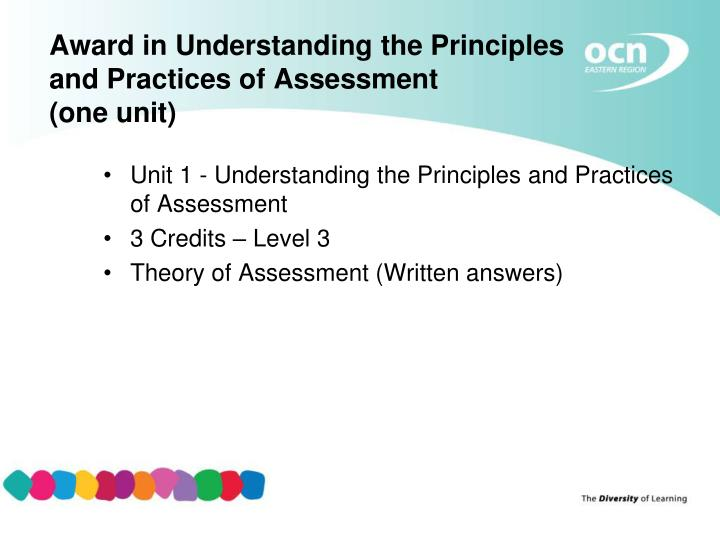 understanding the principles and practices of Level 3 & 4 awards & certificates in assessment and quality assurance 27 unit 301 understanding the principles and practices of assessment learning outcomes.