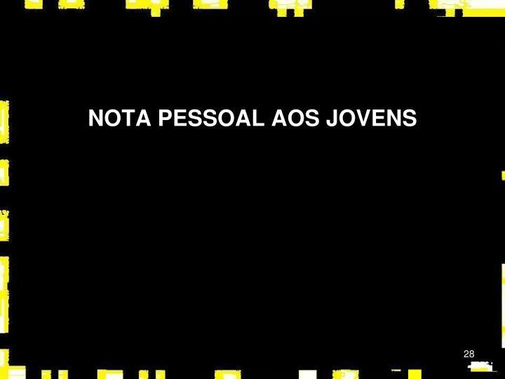NOTA PESSOAL AOS JOVENS