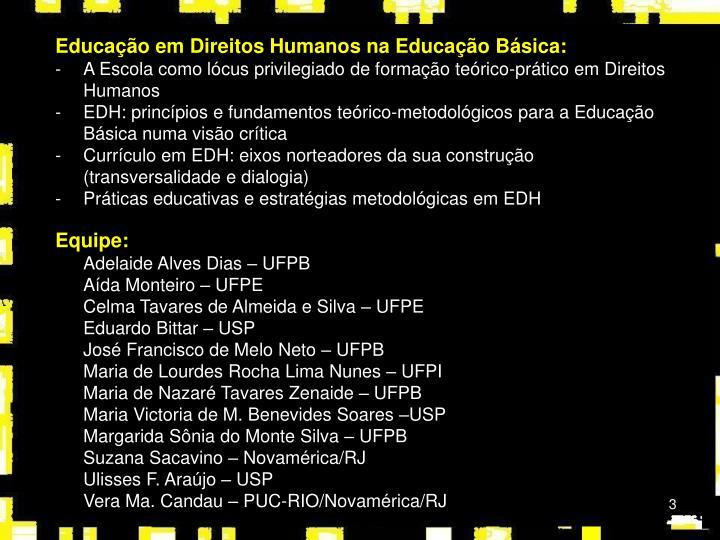 Educação em Direitos Humanos na Educação Básica: