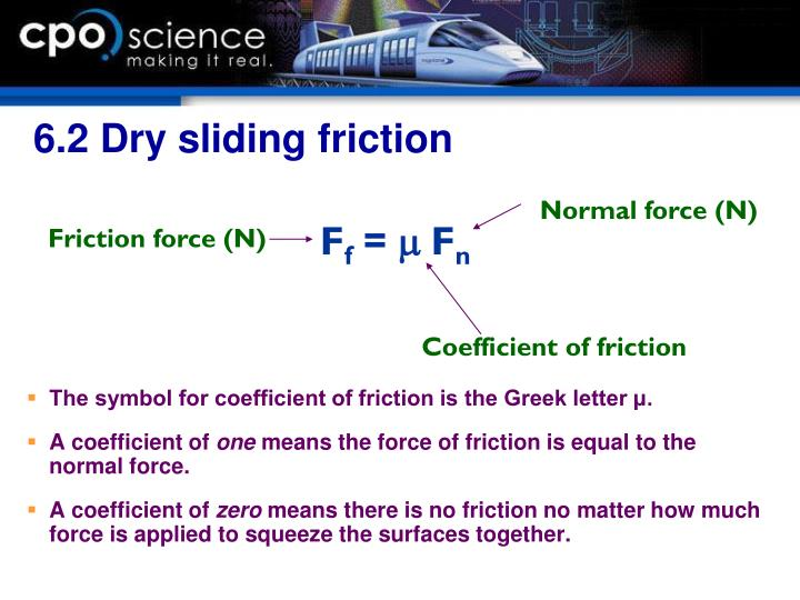 6.2 Dry sliding friction