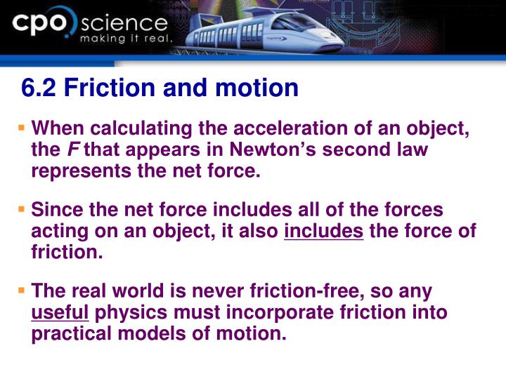 6.2 Friction and motion
