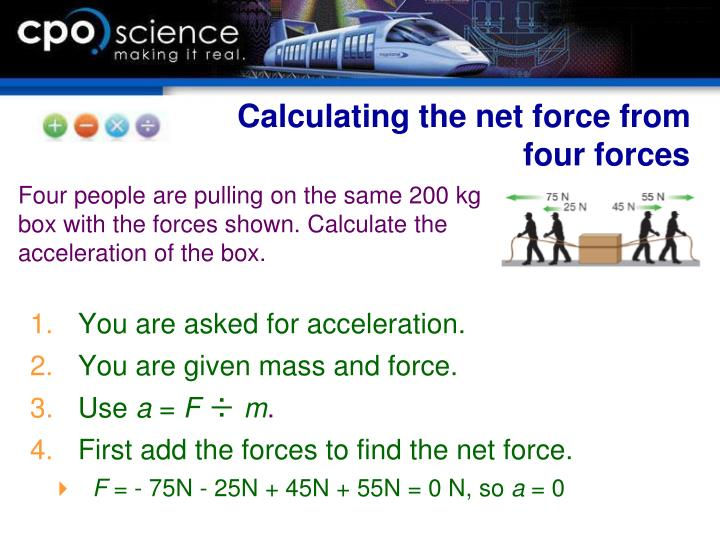 Calculating the net force from