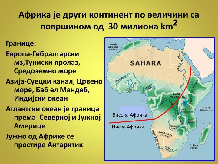 Африка је други континент по величини са површином од  30 милиона