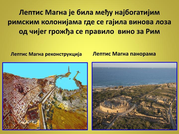 Лептис Магна је била међу најбогатијим римским колонијама где се гајила винова лоза од чијег грожђа се правило  вино за Рим