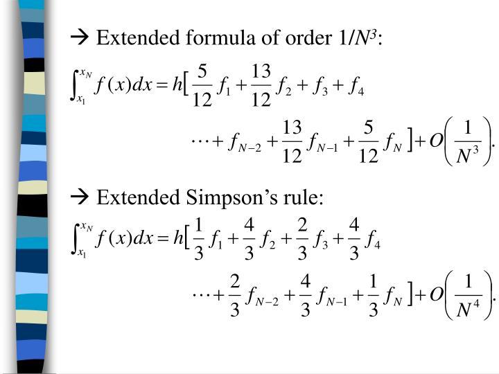  Extended formula of order 1/