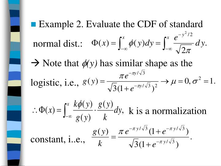 Example 2. Evaluate the CDF of standard