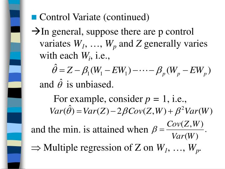 Control Variate (continued)