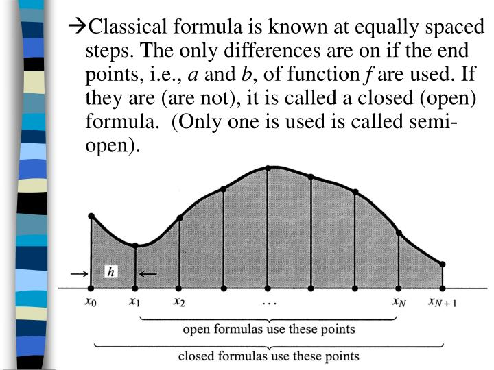 Classical formula is known at equally spaced steps. The only differences are on if the end points, i.e.,