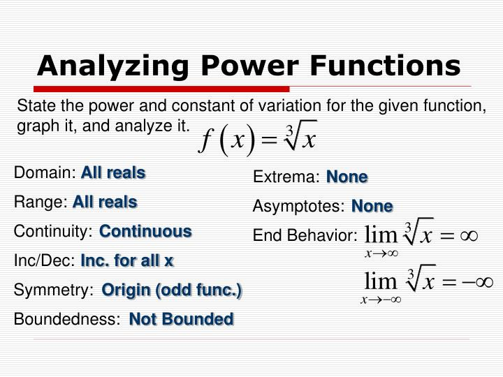 Analyzing Power Functions
