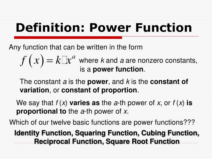Definition: Power Function