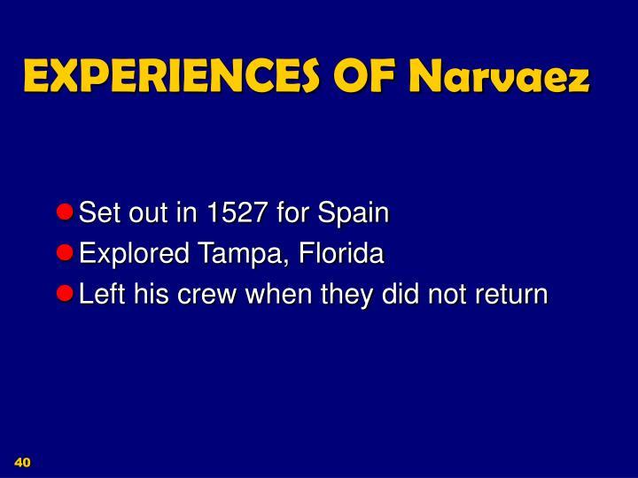 EXPERIENCES OF Narvaez