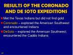 results of the coronado and de soto expeditions