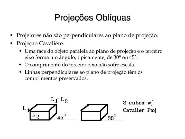 Projetores não são perpendiculares ao plano de projeção.