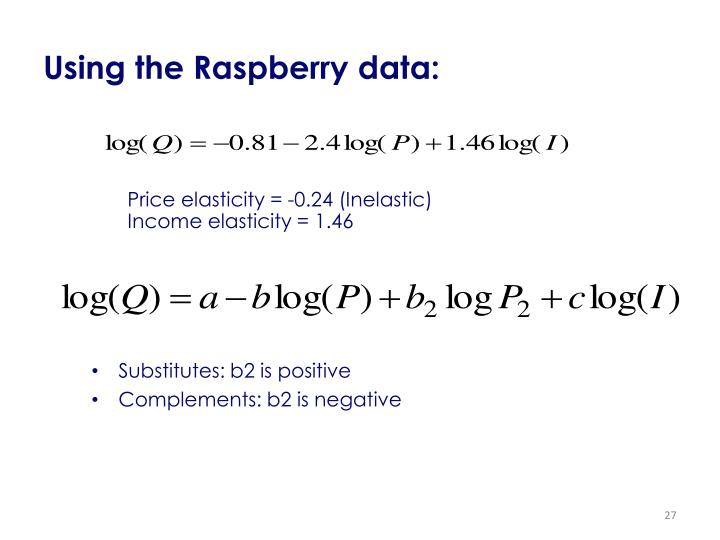 Using the Raspberry data: