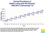 annual prevalence of adults living with hiv disease 1995 2012 partnership 11a
