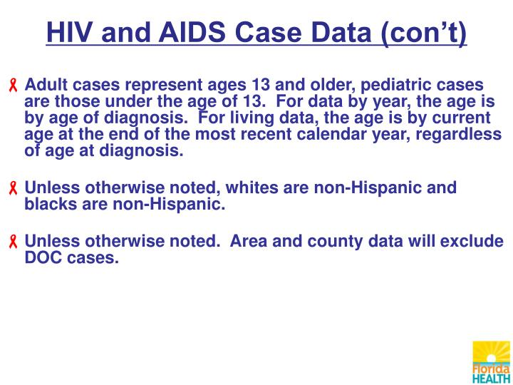 HIV and AIDS Case Data (con't)