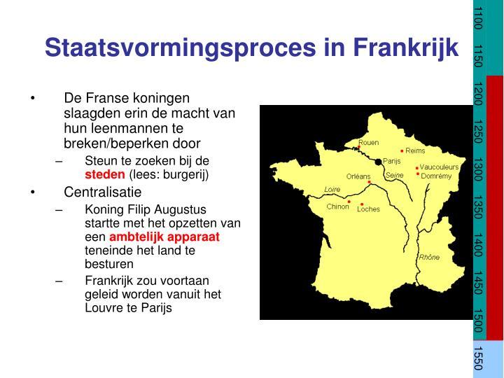 De Franse koningen slaagden erin de macht van hun leenmannen te breken/beperken door