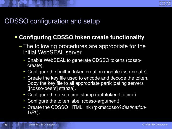 CDSSO configuration and setup