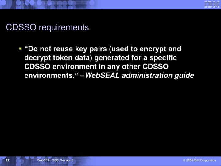 CDSSO requirements