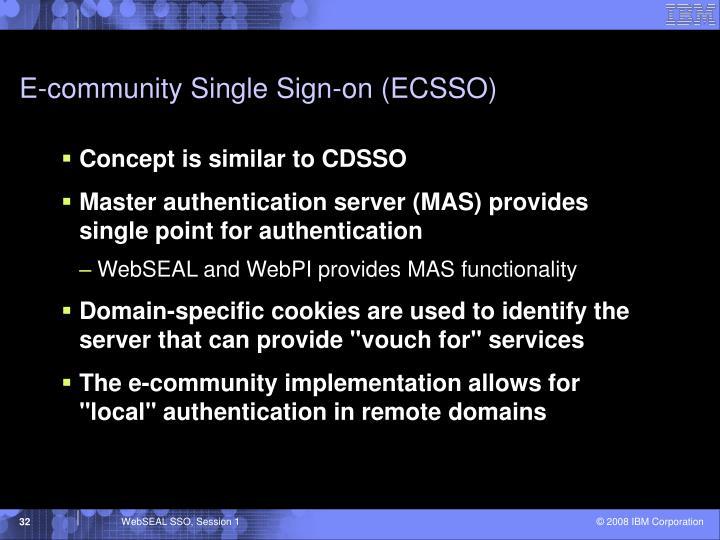 E-community Single Sign-on (ECSSO)