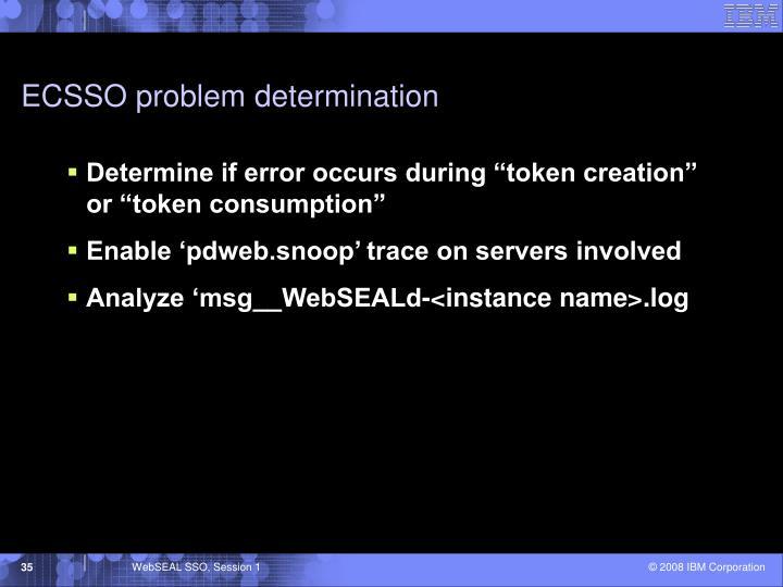 ECSSO problem determination