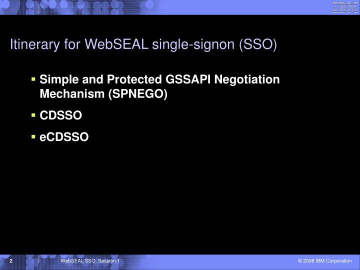 Itinerary for WebSEAL single-signon (SSO)