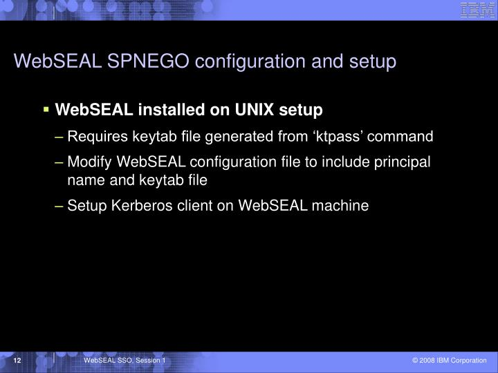 WebSEAL SPNEGO configuration and setup