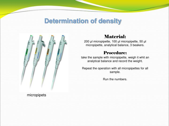 Determination of density