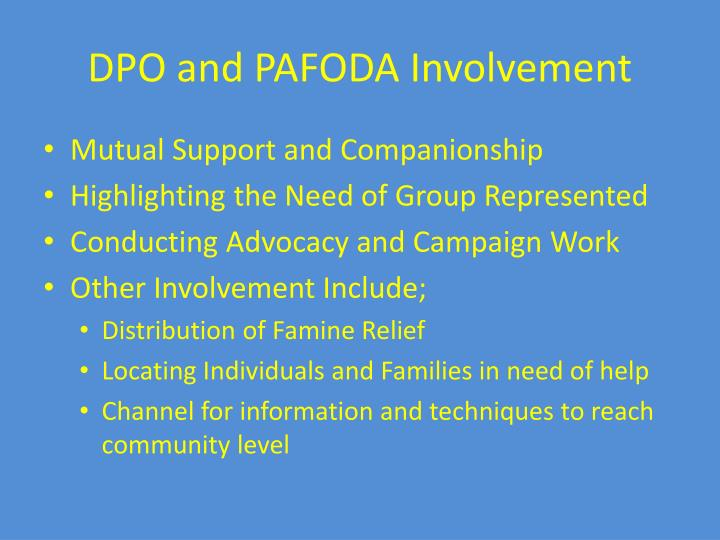 DPO and PAFODA Involvement