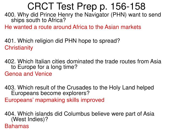 CRCT Test Prep p. 156-158