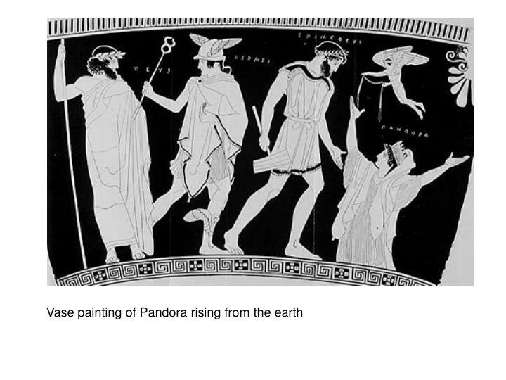 Vase painting of Pandora rising from the earth