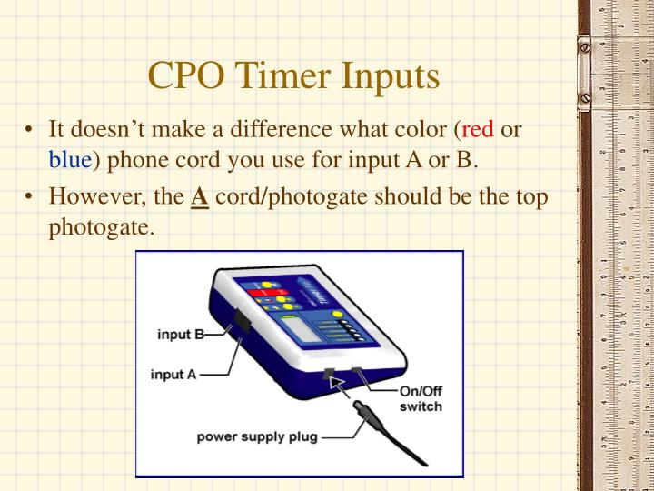 CPO Timer Inputs