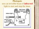 photogate uses an invisible beam of infra red light to start and stop the timer
