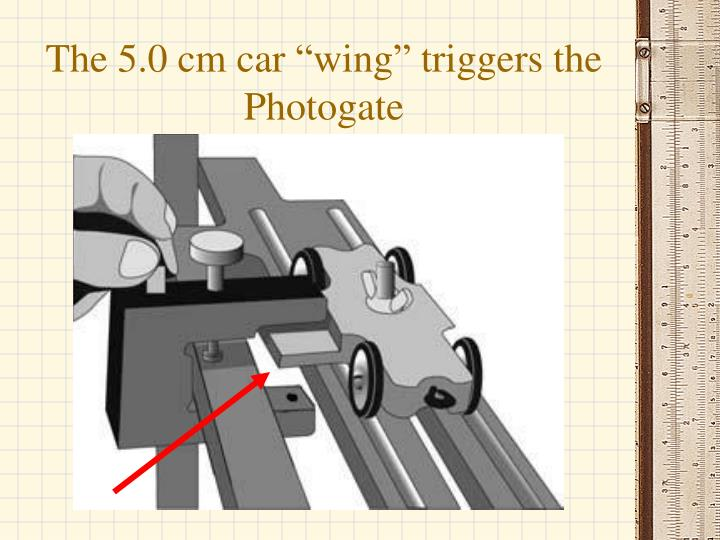 "The 5.0 cm car ""wing"" triggers the Photogate"
