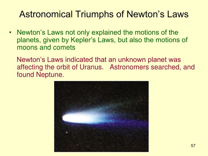 Astronomical Triumphs of Newton's Laws