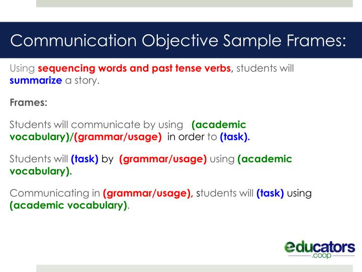 Communication Objective Sample Frames: