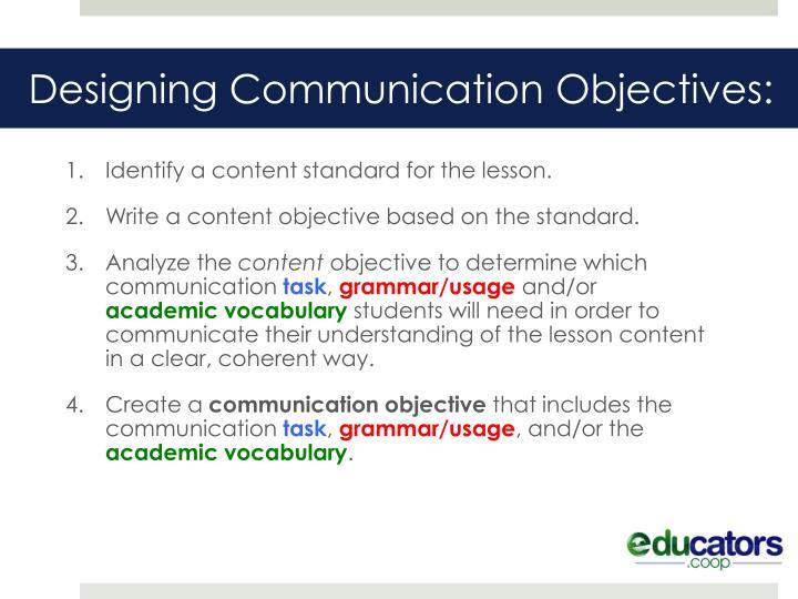Designing Communication Objectives: