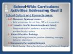 school wide curriculum activities addressing goal 2