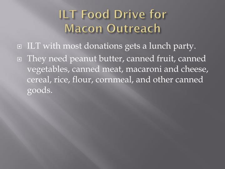 ILT Food Drive for